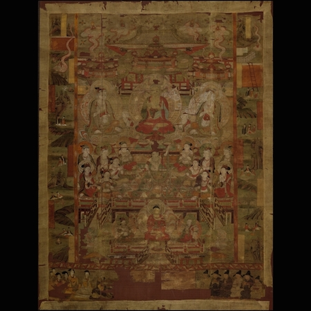 Paradise of Shakyamuni, with illustrations of episodes from the Baoen Sutra, ink and colours on silk, from Cave 17, Mogao, near Dunhuang, Gansu province, China, Tang dynasty, early 9th century, © Trustees of the British Museum