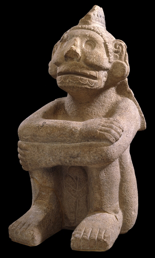Sandstone seated figure of Mictlantecuhtli, Mexica*, c.1325-1521 C.E. © The Trustees of the British Museum