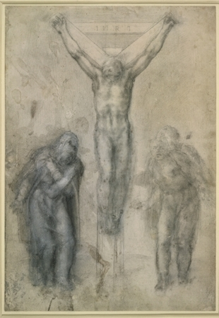 Michelangelo, Christ on the Cross between the Virgin and St John Black, 1550-60, chalk and white lead (discolored in places), 41.2 x 28.5 cm,  © Trustees of the British Museum.