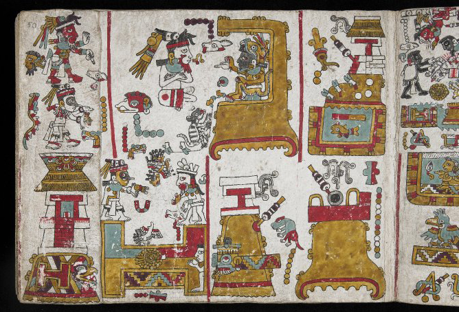 Folio fifty, Codex Zouche-Nuttall, Mixtec, Late Postclassic period, 1200-1521, C.E., deer skin, 47 leaves, each 19 x 23.5 cm © Trustees of the British Museum