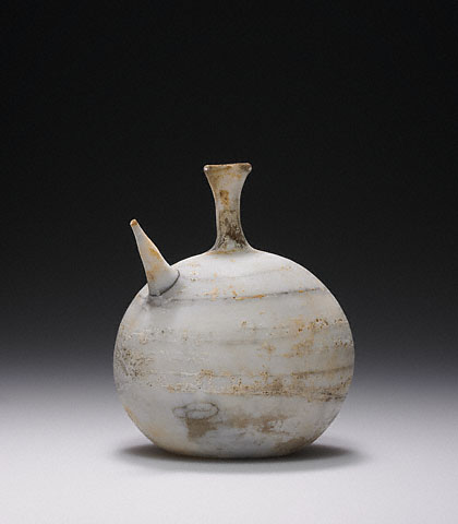 Opaque white feeder flask, Unknown, Late Hellenistic or Roman, 1st century C.E., Glass (The J. Paul Getty Museum, Villa, 2003.