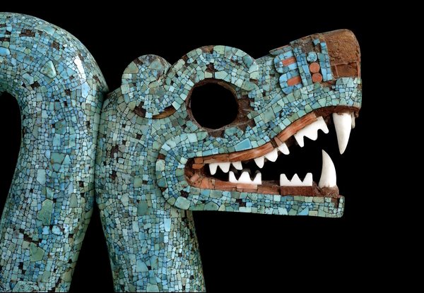 Head of Serpent (detail), Mosaic of a Double-headed Serpent, c. 15th-16th century, cedrela wood, turquoise, pine resin, oyster shell, hematite, and copal, 20.5 x 43.3 x 6.5 cm, Mexico © Trustees of the British Museum