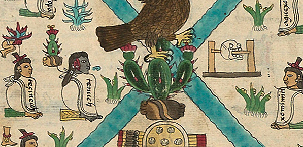 Detail with Tenoch and skull rack, Frontispiece, Codex Mendoza, Viceroyalty of New Spain, c. 1541–1542, pigment on paper © Bodleian Libraries, University of Oxford