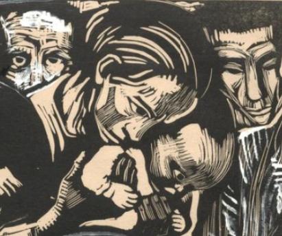 Woman holding a child (detail), Käthe Kollwitz, Memorial Sheet of Karl Liebknecht (Gedenkblatt für Karl Liebknecht), 1919-1920, Woodcut heightened with white and black ink, 37.1 × 51.9 cm (Art Institute of Chicago)