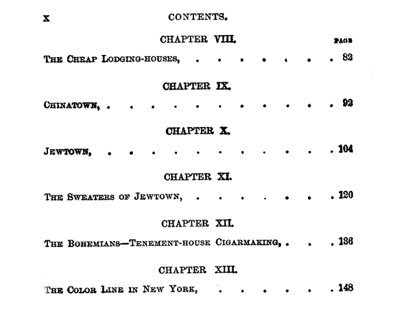 """Detail of the """"Table of Contents,"""" Jacob August Riis, How the Other Half Lives: Studies Among the Tenements of New York, Charles Scribner's Sons: New York, 1914"""