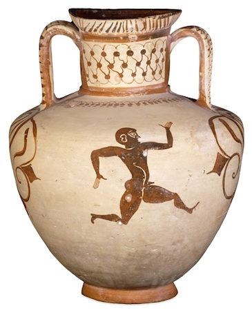 Fikellura style amphora with a running man, Greek, 6th century B.C.E., made in Miletos, Asia Minor; from Rhodes © The Trustees of the British Museum