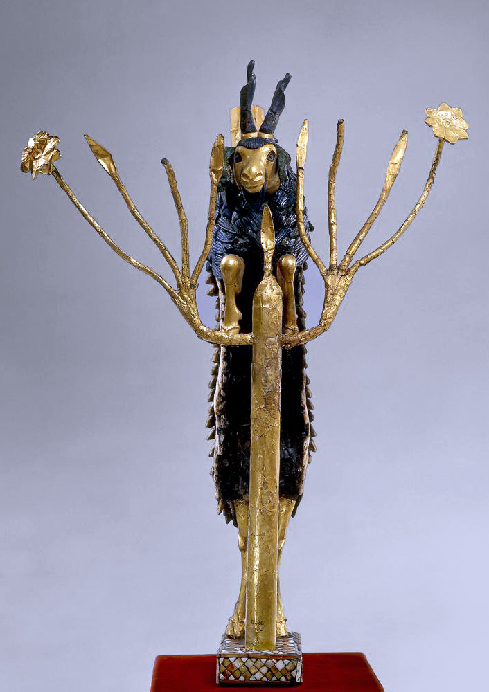 'Ram in a Thicket', about 2600–2400 B.C.E., Sumerian, found in tomb PG 1237, Royal Tombs of Ur, southern Iraq, gold, silver, lapis lazuli, shell, bitumen, copper alloy, and red limestone, 45.7 x 30.48 cm (© The Trustees of the British Museum)