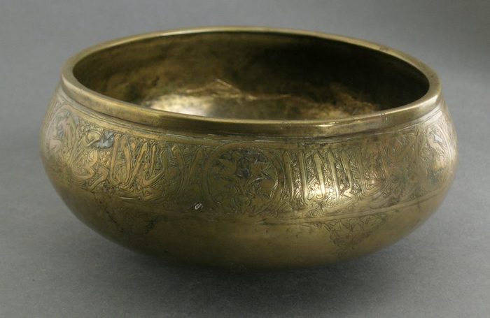Bowl (Mamluk, Syria), 14th century, brass, incised and engraved, with traces of silver inlay, 7.62 x 16.51 cm (LACMA)
