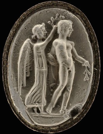 Sealstone with the goddess Nike crowning an athlete, 2.3 x 1.6 cm, Temple of Artemis, Ephesus © The Trustees of the British Museum