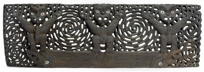 Wooden openwork lintel (pare), c. 1830s-40s wood stained black, haliotis shells, 131.5 x 43.5 x 5.5 cm, Bay of Plenty, North Island, New Zealand © The Trustees of the British Museum. Three wheku figures, unsexed, with haliotis shell eyes, raised arms, surface decoration of spirals and pakura, separated and flanked by takarangi spirals. Solid base with bands of rauponga, central rauponga spiral and two terminal manaia with haliotis-shell eyes under feet of outer wheku figures.