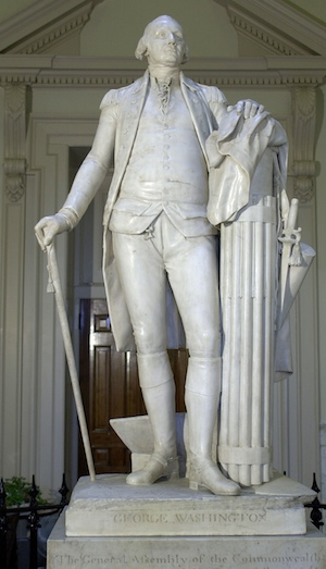 "Jean-Antoine Houdon, George Washington, 1788-92, marble, 6' 2"" high (State Capitol, Richmond, Virginia)"