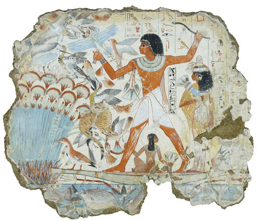 Nebamun fowling in the marshes, Tomb-chapel of Nebamun, c. 1350 B.C.E., 18th Dynasty, paint on plaster, 83 x 98 cm, Thebes © Trustees of the British Museum