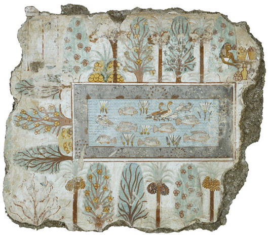 Nebamun's garden, Tomb-chapel of Nebamun, c.1350 B.C.E., 18th Dynasty, paint on plaster, 64 cm high, Thebes, Egypt © Trustees of the British Museum