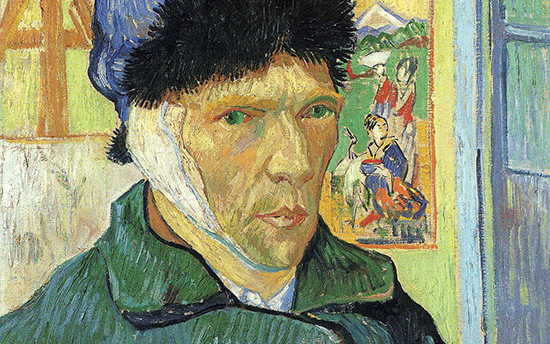 The artist's face and bandaged ear (detail), Vincent van Gogh, Self-Portrait with Bandaged Ear, 1889, oil on canvas, 60 x 49 cm (Courtauld Galleries, London)