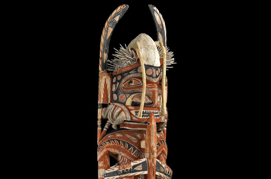 Malangan figure, 1882-83 C.E., 122 cm high, north coast of New Ireland, Papua New Guinea © Trustees of the British Museum