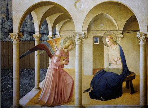 Fra Angelico, The Annunciation, c. 1438-47, fresco, 230 x 321 cm (Convent of San Marco, Florence)