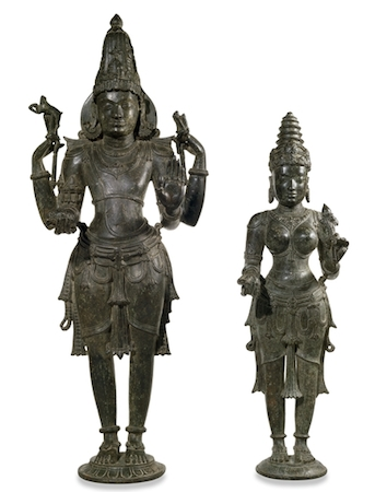 Bronze figures of Shiva and Parvati, early 11th century, bronze, from western Deccan, India, 67cm high, © Trustees of the British Museum
