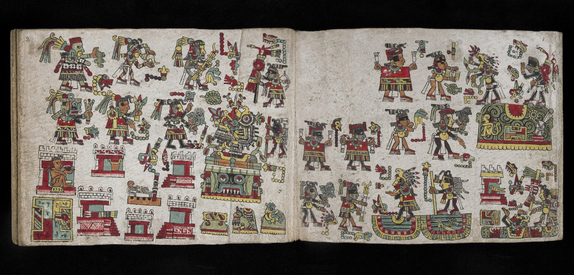 Folio one and two, Codex Zouche-Nuttall, Mixtec, Late Postclassic period, 1200-1521, C.E., deer skin, 47 leaves, each 19 x 23.5 cm © Trustees of the British Museum