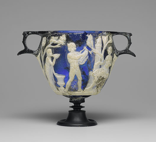 Cameo Glass Skyphos, Roman, c. 25 B.C.E. - 25 C.E., cameo glass (The J. Paul Getty Museum, Villa, 84.AF.85)