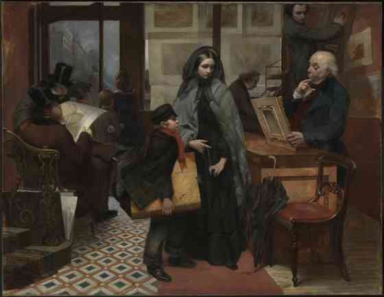 """Emily Mary Osborn, Nameless and Friendless, """"The rich man's wealth is his strong city: the destruction of the poor is their poverty"""" (Proverbs: 10:15), 1857, oil on canvas, 82 x 104 cm (Tate Britain, London)"""