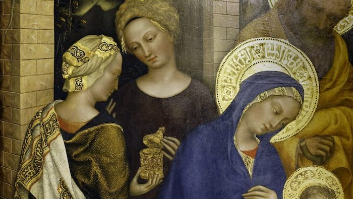 Gentile da Fabriano, *Adoration of the Magi* (detail with psuedo-Arabic script seen in Mary's halo and cloth at left), 1423, tempera on panel, 283 x 300 cm (Uffizi Gallery, Florence, photo: Steven Zucker, CC BY-NC-SA 4.0)