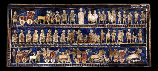 "The Standard of Ur (""War""), 2600-2400 B.C.E., shell, red limestone, lapis lazuli, and bitumen (original wood no longer exists), 21.59 x 49.53 x 12 cm © The Trustees of the British Museum"