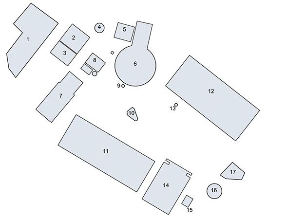 The Forum Romanum in the Late Republican period: 1) Tabularium; 2)Temp|e of Concord; 3) Basilica Opimia; 4)Tullianum; 5) Basilica Porcia; 6) Curia and Comitium; 7) Temple of Saturn; 8) Senaculum; 9) Volcanal; 10) Lacus Curtius; 11) Basilica Sempronia; 12) Basilica Fulvia; 13) Shrine of Venus Cloacina; 14) Temple of the Castors; 15)Fountain of Juturna; 16) Temple of Vesta; 17) Regia