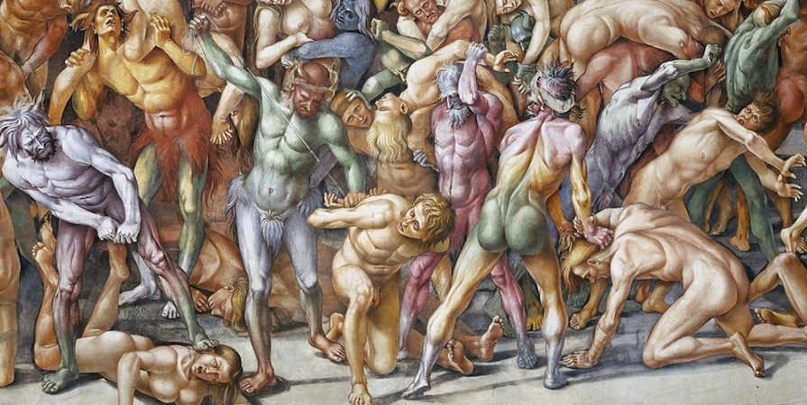 Humans being tortured by demons in the foreground (detail), Luca Signorelli, The Damned Cast into Hell, 1499-1504, fresco, 23' wide (San Brizio chapel, Orvieto Cathedral, Orvieto, Italy)