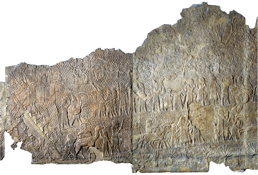 The siege and capture of the city of Lachish in 701, panel 8-9, South-West Palace of Sennacherib, Nineveh, northern Iraq, Neo-Assyrian, c. 700-681 B.C.E., alabaster, 182.880 x 193.040 cm © Trustees of the British MuseumPart of a series which decorated the walls of a room in the palace of King Sennacherib (reigned 704-681 B.C.E.). The Assyrian soldiers continue the attack on Lachish. They carry away a throne, a chariot and other goods from the palace of the governor of the city. In front and below them some of the people of Lachish, carrying what goods they can salvage, move through a rocky landscape studded with vines, fig and perhaps olive trees. Sennacherib records that as a result of the whole campaign he deported 200,150 people. This was standard Assyrian policy, and was adopted by the Babylonians, the next ruling empire.