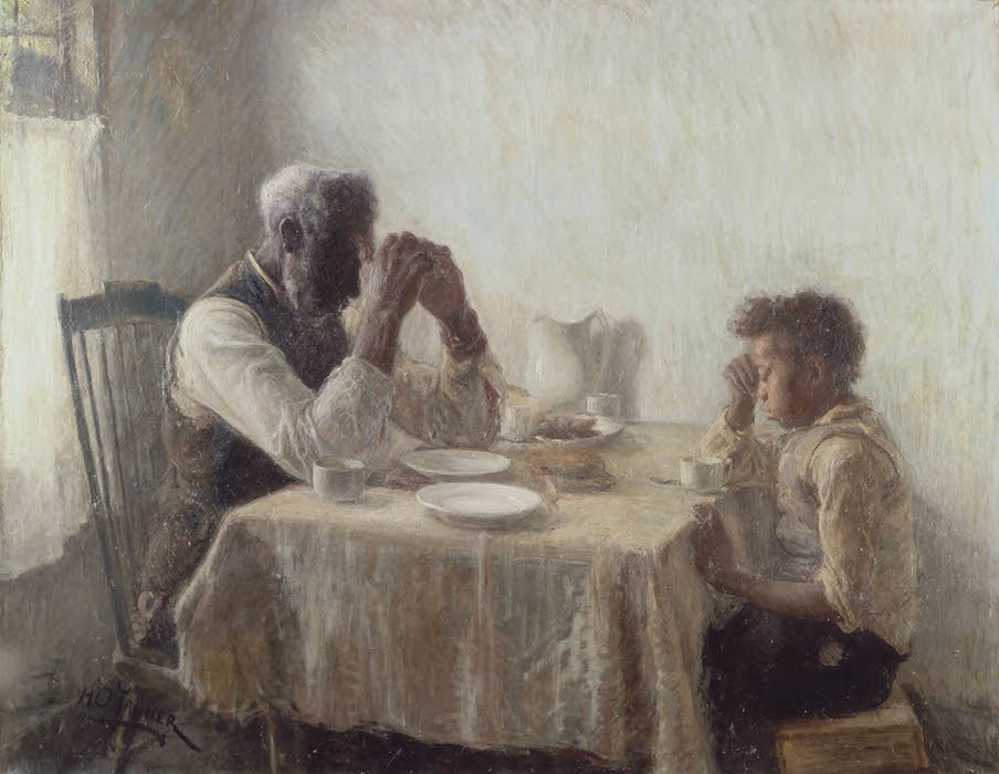 Henry Ossawa Tanner, The Thankful Poor, 1894, oil on canvas, 90.3 x 112.5 cm / 35 1/2 x 44 1/4 inches (collection of William and Camille Cosby)