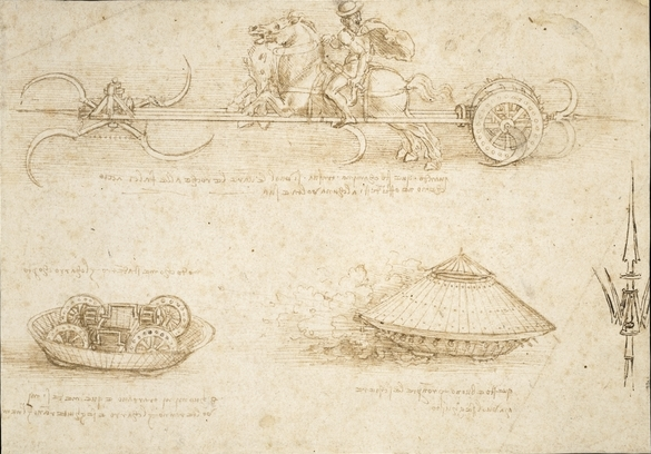 Leonardo da Vinci, Military Machines, drawing from a notebook, c. 1487, 173 x 245 cm, © Trustees of the British Museum.