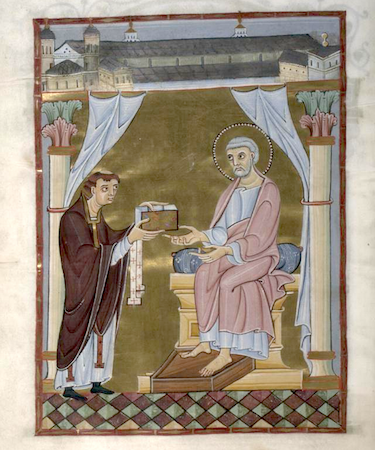 Hillinus Codex (Hillinus Presents the Codex to St. Peter), c.1020, Cologne Dombibliothek, folio 16, verso, manuscript 12