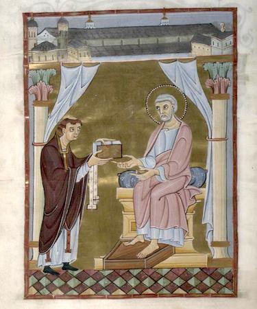 Hillinus Codex (Hillinus Presents the Codex to St. Peter), c.1020, Cologne Dombibliothek, folio 16, verso, manuscript 12