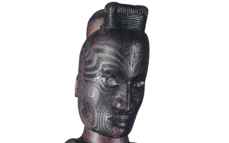 Carved male figure (from the base of a poutokomanawa), Maori, mid-19th century C.E., wood, haliotis shell, 85 x 26 x 18 cm, Hawkes Bay (?), New Zealand © The Trustees of the British Museum