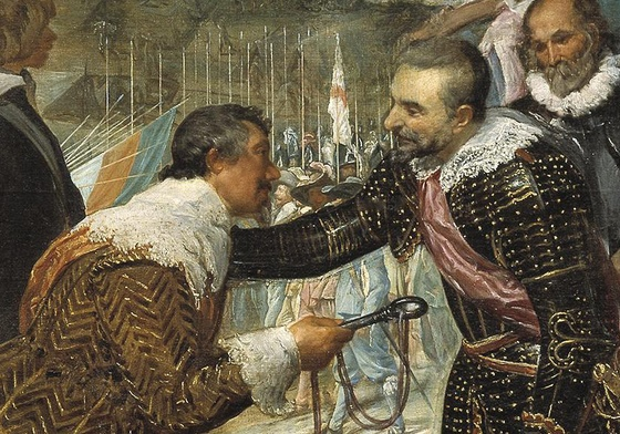 Exchange of keys from the Dutch to the Spanish captain (detail), Diego Velázquez, The Surrender of Breda, 1634-35, oil on canvas, 307 cm × 367 cm (Museo del Prado, Madrid)