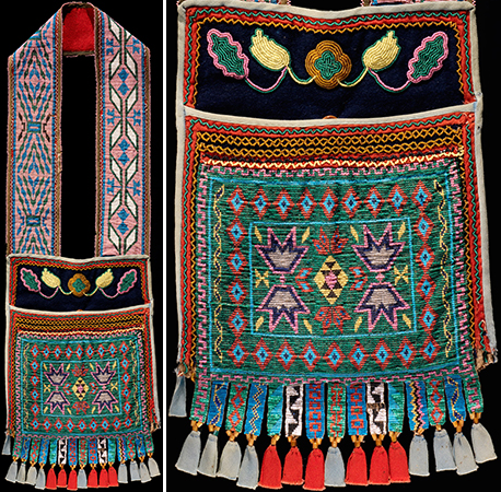 Bandolier Bag, Anishnaabe (Chippewa/Ojibwe), c. 1870, Upper Great Lakes, wool, cotton cloth, and glass beads. 87 x 26 cm (National Museum of the American IndianI, New York)