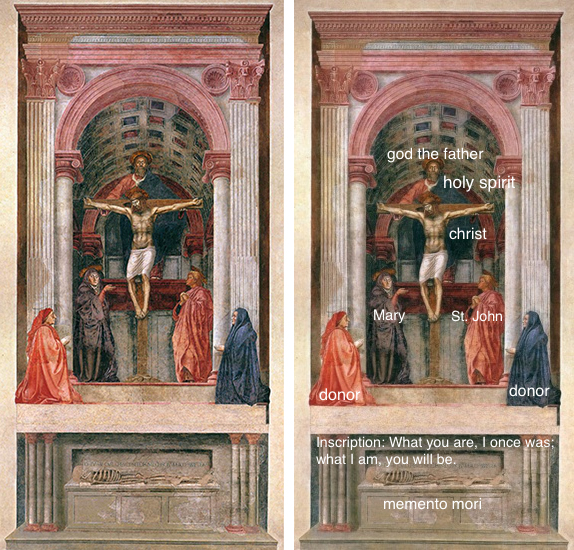 masaccio the holy trinity Masaccio and linear perspective  but it was first applied by masaccio in his trinity  he and his wife pray piously towards a vision of the holy trinity.