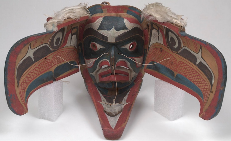 Kwakwaka'wakw artist, Eagle Mask, late 19th c. (from Alert Bay, Vancouver Island, British Columbia, Canada), cedar wood, feathers, sinew, cord, bird skin, hide, plant fibers, cotton, iron, pigments, 57 x 49 cm, height 37 cm (American Museum of Natural History)