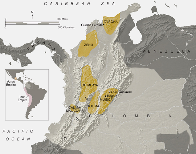 Archaeological regions of Colombia.© Trustees of the British Museum