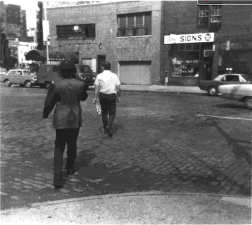 Vito Acconci, Following Piece, between October 3 and 25, 1969, performance, photograph © Vito Acconci 2008, shown courtesy of Vito Acconci