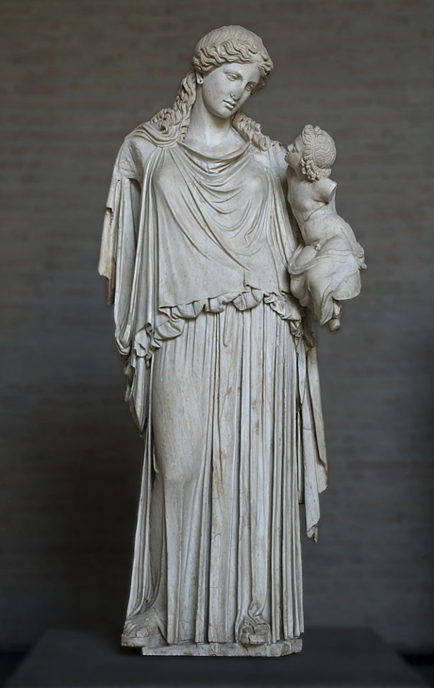 This statue of Eirene, peace, bearing Plutus, wealth is a Roman copy of a Greek votive statue by Kephisodotos which stood on the agora in Athens, Wealth ca. 370 BCE.
