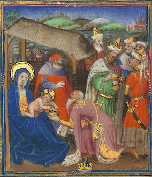 Missal of Eberhard von Greiffenklau, Adoration of the Magi, Walters Manuscript W.174, fol. 19v detail (The Walters Art Museum)