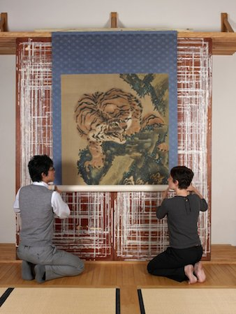 Gan Ku, Tiger, painting, hanging scroll, ink and color on silk. 169 x 114.5 cm, Japan © The Trustees of the British Museum