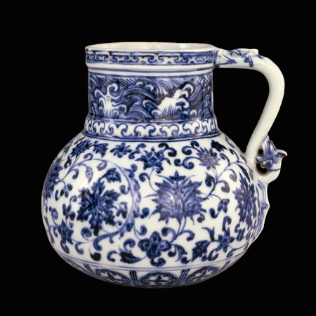 Blue-and-white porcelain jug, from Jingdezhen, Jiangxi province, southern China, Ming dynasty, early 15th century