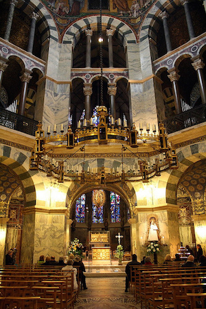 Interior of the Palatine Chapel of Charlemagne, Aachen, Germany, 792-805
