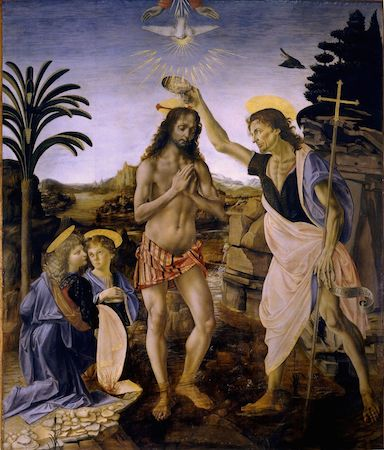 Andrea del Verrocchio (with Leonardo), Baptism of Christ, 1470-75, oil and tempera on panel, 70 3/4 x 59 3/4 inches or 180 x 152 cm (Galleria degli Uffizi, Florence) https://cdn.kastatic.org/ka-perseus-images/808b2a94643414d638b59e644424ce11fcc35cd0.jpg
