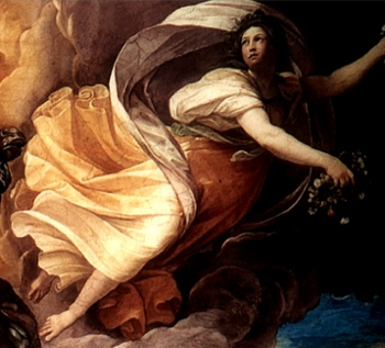 Aurora, goddess of the dawn, bringing forth a new day (detail), Guido Reni, Aurora, 1613-14, ceiling fresco (Casino dell'Aurora, Rome)