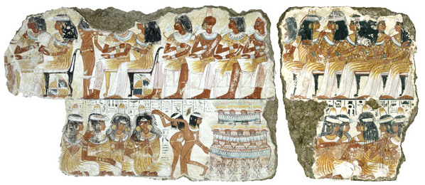 A feast for Nebamun, the top half of a scene from the Tomb-chapel of Nebamun, c. 1350 B.C.E., 18th Dynasty, paint on plaster, 88 x 119 cm, Thebes © Trustees of the British Museum
