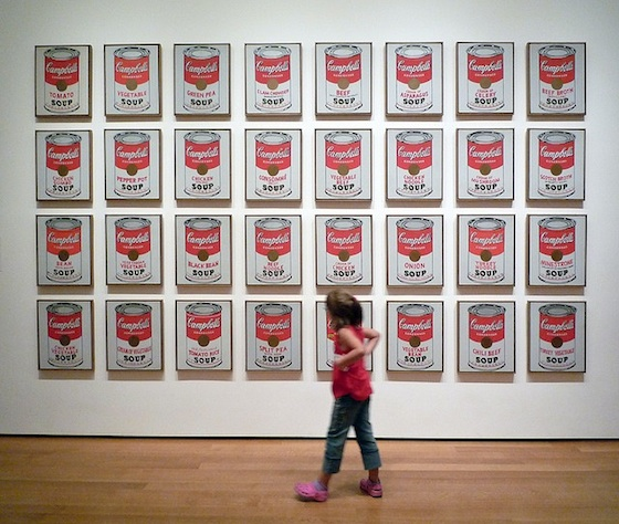 Andy Warhol, Campbell's Soup Cans, 1962, synthetic polymer paint on thirty-two canvases, each 50.8 x 40.6 cm (The Museum of Modern Art, NY)