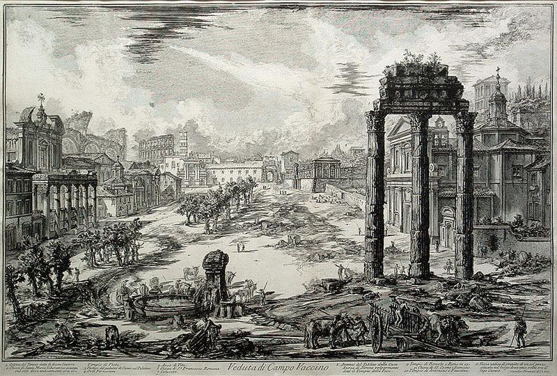 """Giovanni Battista Piranesi, """"Veduta di Campo Vaccino,"""" Views of Rome, plate 82, 18 x 27.75 inches, etching, 1772"""